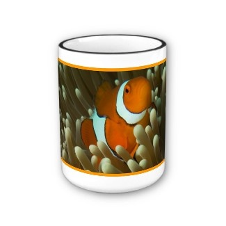 A drinking mug with a cute clownfish. This is an ocellaris clownfish (otherwise known as Nemo to most of us).