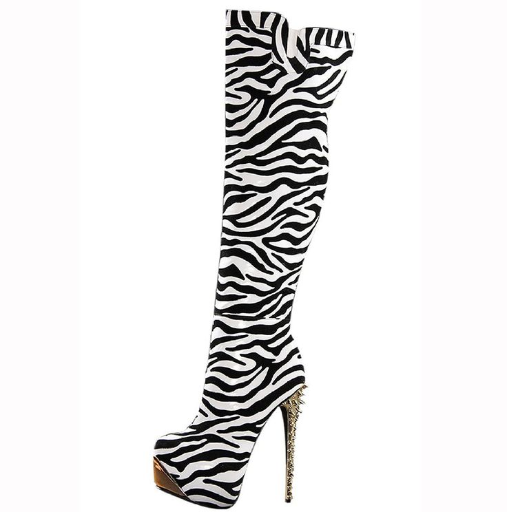 >> Click to Buy << 2017 Fashion Shoes Woman Sexy Leopard Ladies Knee High Boots Stylish Zebra Pattern Heel Shoes Woman Shoes Size 4-13 Women Shoes #Affiliate