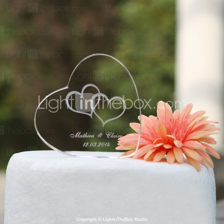 Personalized Heart Crystal Wedding Cake Topper (More Designs) - USD $ 8.99