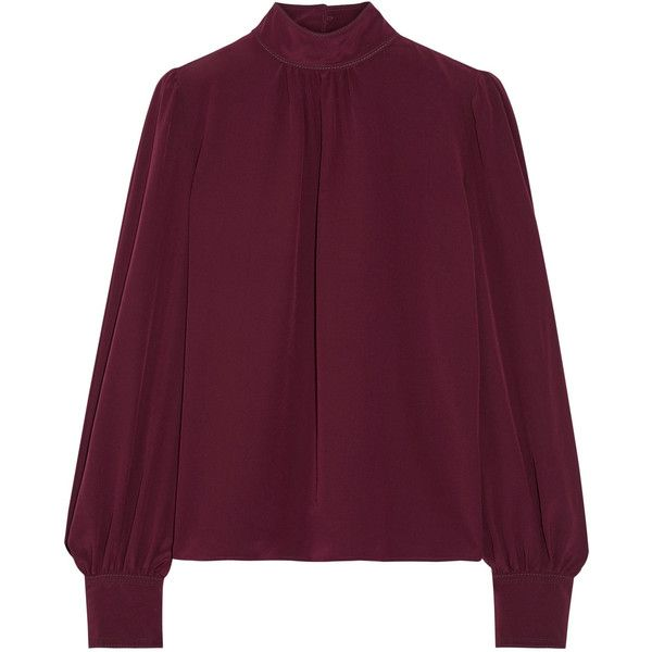 Marc Jacobs Silk crepe de chine blouse (5.268.910 IDR) ❤ liked on Polyvore featuring tops, blouses, high neck blouse, loose fitting blouses, silk top, purple top and ruched top