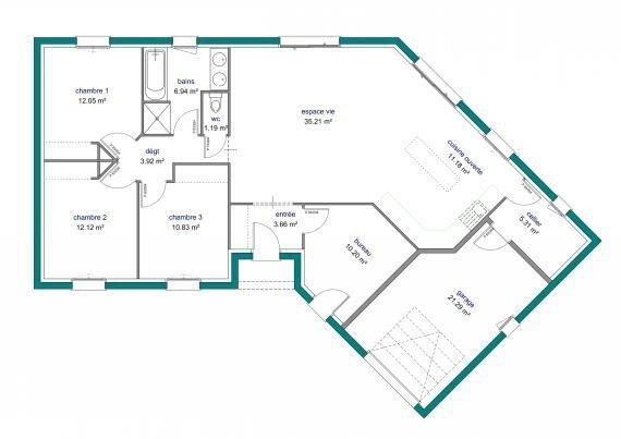 Plan Maison Plain Pied En V Ooreka 8