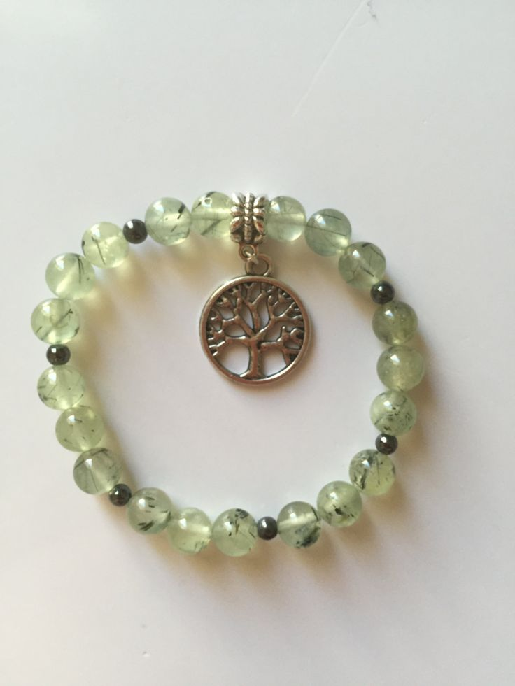 Prehnite Crystal Bracelet - called life force - with hematite and tree of life charm by positivecharmjewels on Etsy