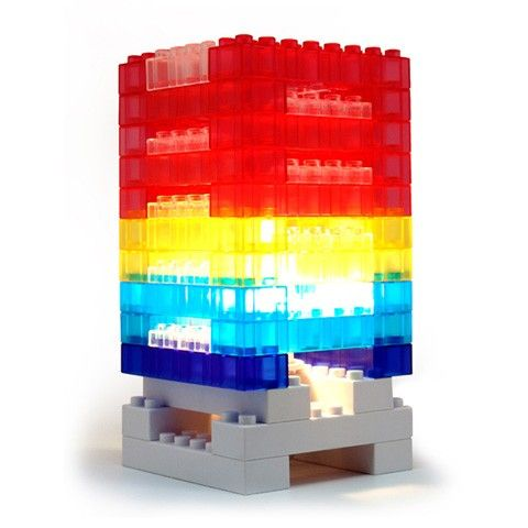 This DIY block colorful light desk lamp comes in a kit to let you design your own shapes. It is made from a durable plastic that still allows for the same sort of play and snap building that we never