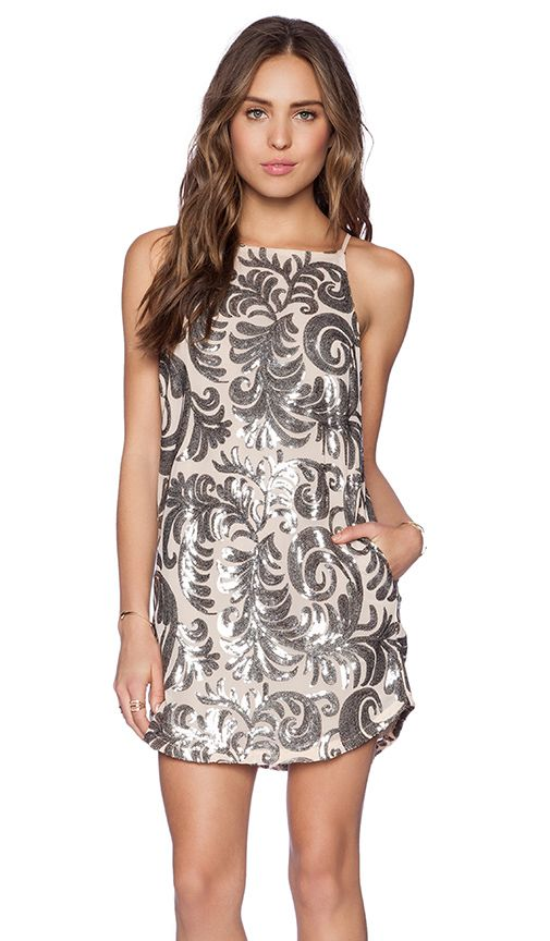 Capulet Embroidered Baroque Shift Dress in Silver   REVOLVE