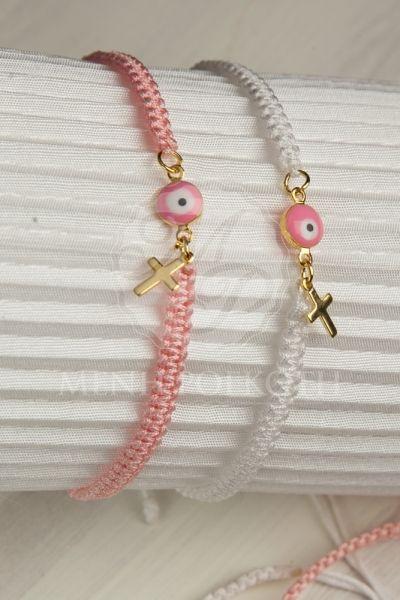 Μαρτυρικά βραχιόλια για βάπτιση μακρεμέ λευκό και ροζ