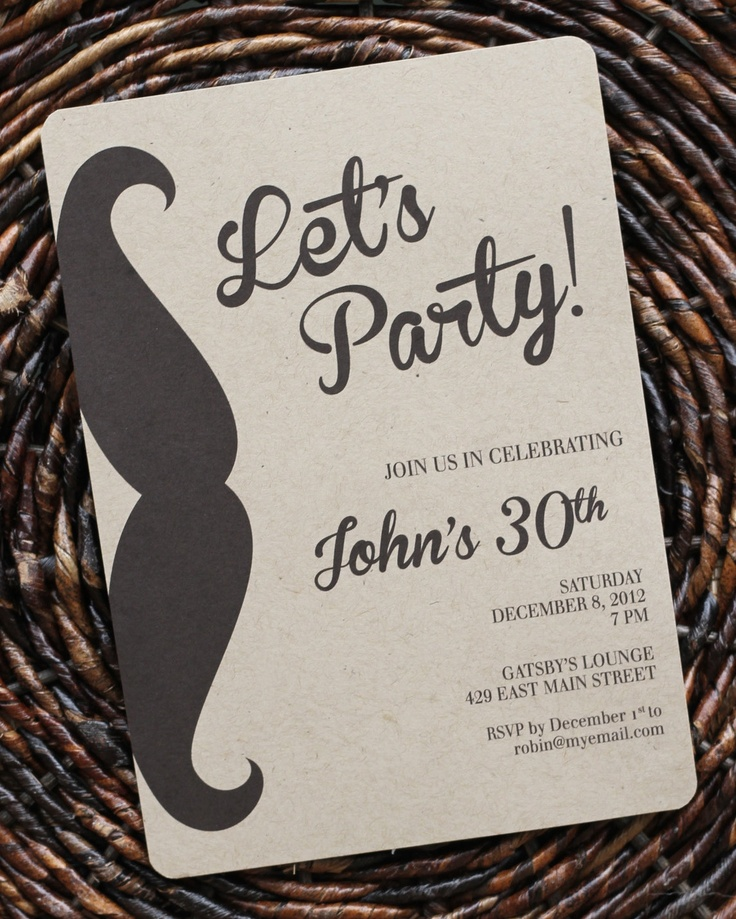 Birthday Invitation for Men or Boys / Guys Mustache Party Invitation : Size 5x7, Set of 8. $21.50, via Etsy.