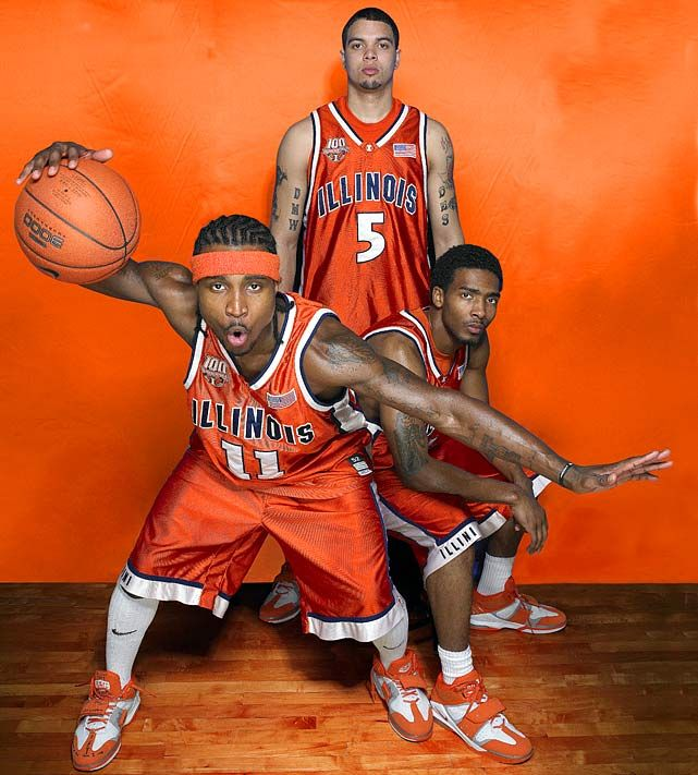 The Illinois All-America trio from 2004-05 - Dee Brown, Luther Head and Deron Williams. #Illini #FinalFour