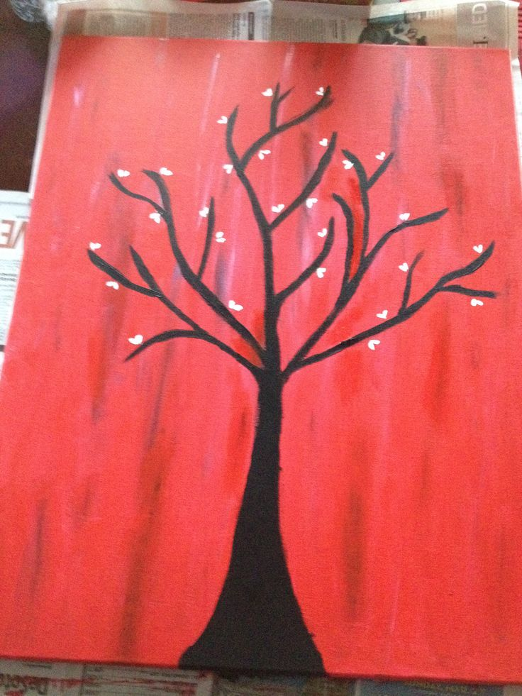 DIY Canvas Painting Red Tree Easy Art ProjectsProject