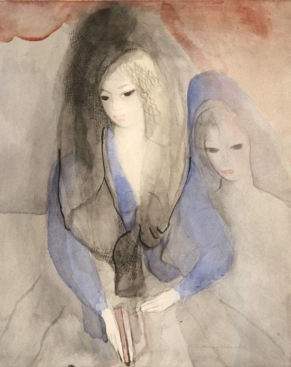 Marie Laurencin Deux Jeunes Filles Aquarelle Art Independant