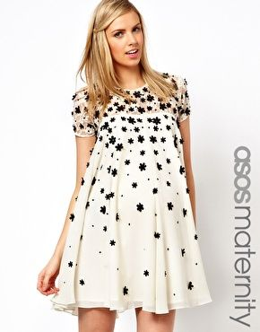 Super stylish w/vintage & modern feel!  ASOS Maternity Exclusive Swing Dress with Floral Applique and Cap Sleeve