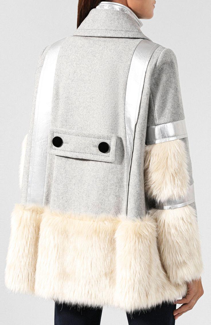 Шерстяное пальто SACAI светло-серого цвета — купить за 154000 руб. в интернет-магазине ЦУМ, арт. 19-04654