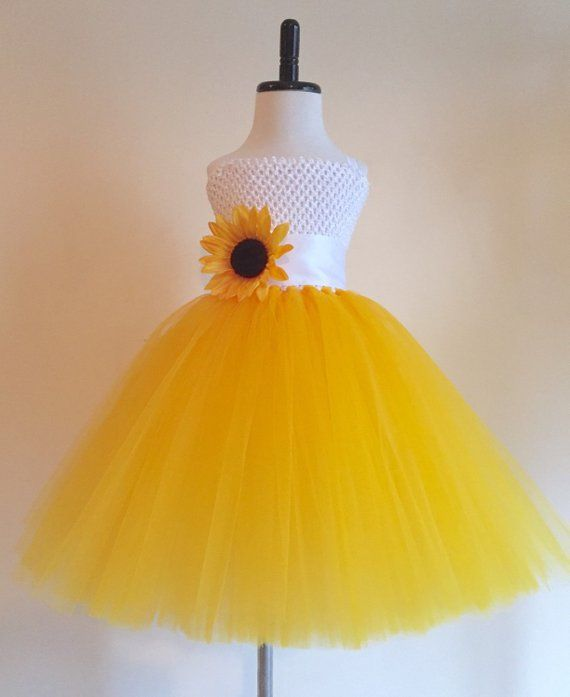 4f71136f0d Sunflower Tulle Dress with Matching Headband Set, White and Yellow  Sunflower Party Dress, Sunflower