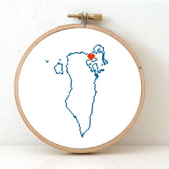 BAHRAIN Map Cross Stitch Pattern. Easy Embroidery pattern to make Middle east map with Al Manamah