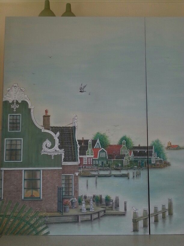the front house is in the early days painted bij Monet in the Netherlands. and now for our B&B in pastel painting by Pieter van der Schoor in 2014