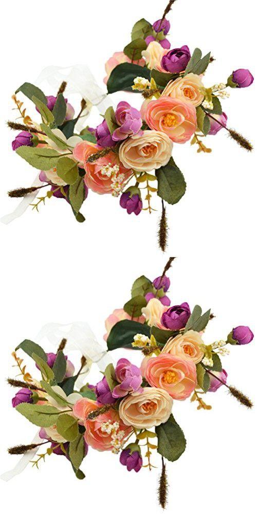 Vivivalue Camellia Flower Wreath Headband Floral Crown Garland Boho for Festival Wedding Light Orange