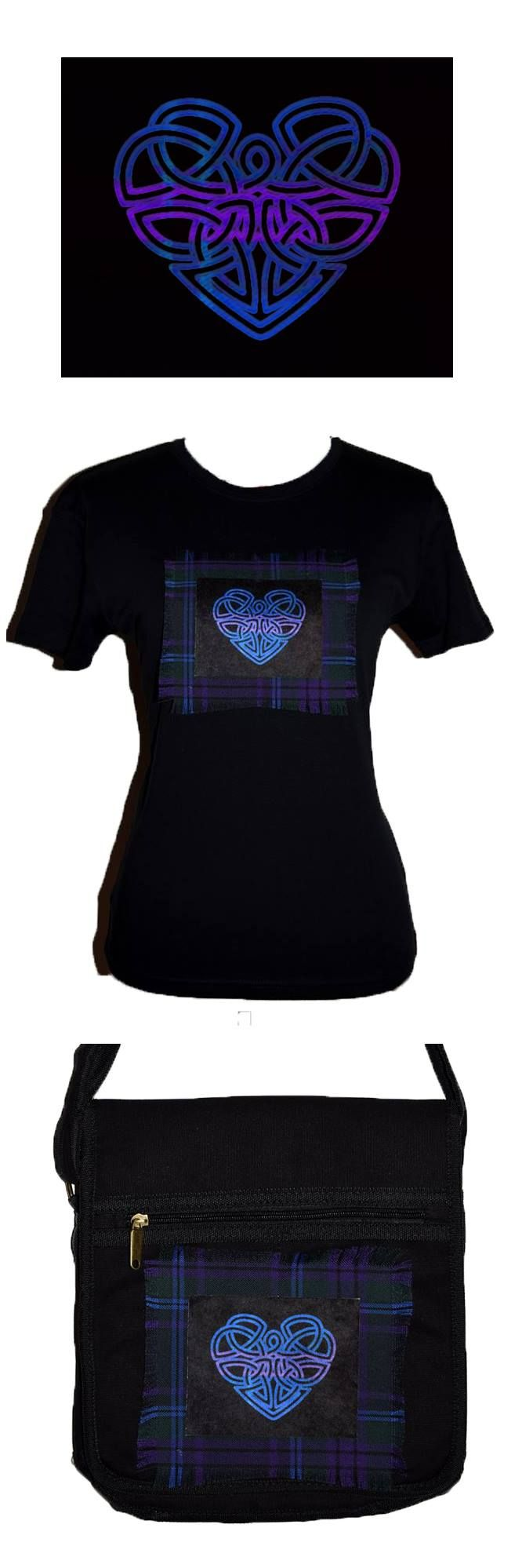 Celtic heart custom made shirt and bag. Stunning sublimation prints onto luxurious velvet fabric and beautiful tartan. Designed and hand made in Scotland by MoNkA. https://www.facebook.com/monka.rocks/