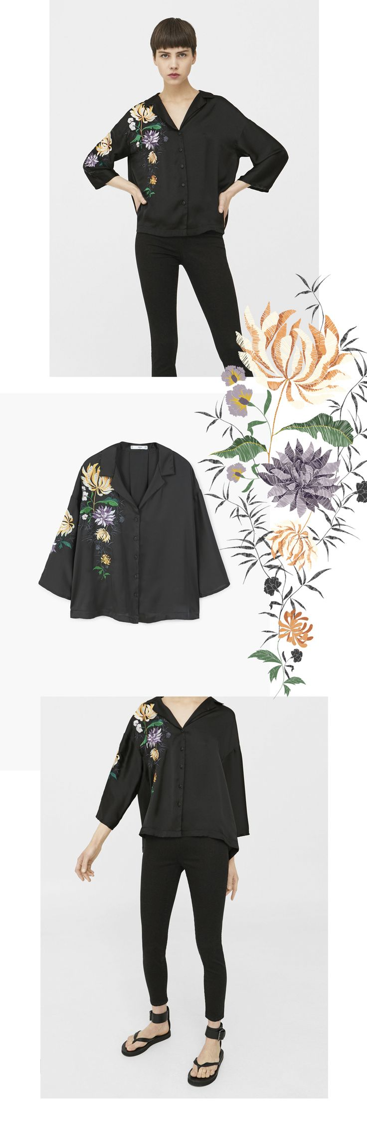 MANGO | oriental embroidered flowers, SS17 on Behance