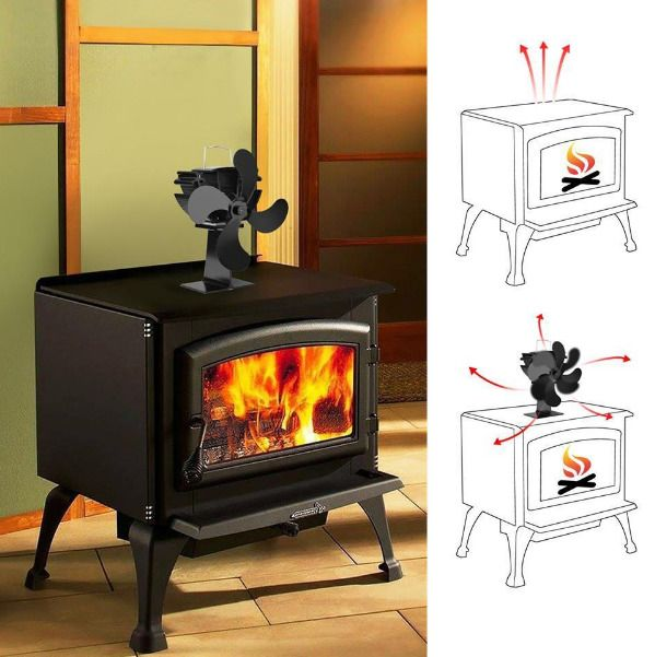 Silent Black Eco Friendly 4 Blade Stove Fan Heat Powered Log Wood