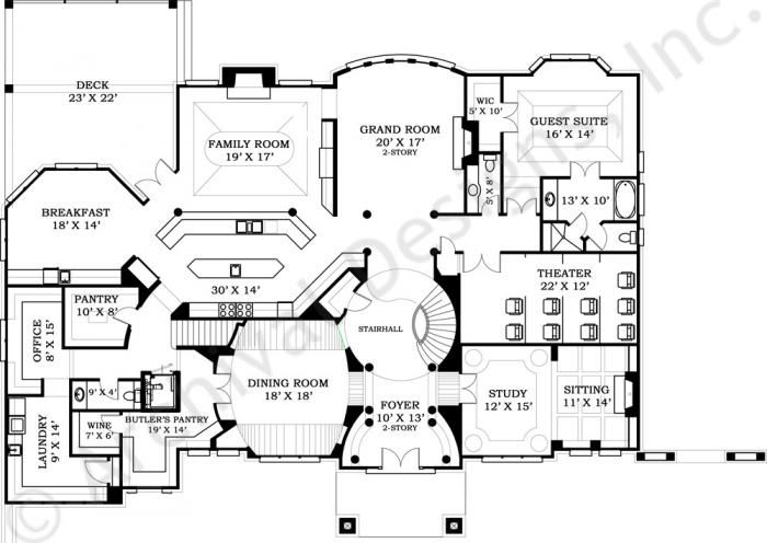 Strathmore hall mansion house plans luxury house plans for Luxury castle floor plans