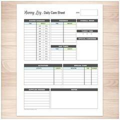 Nanny Log - Daily Infant Care Sheet - Blue & Green - Printable Planning #daycarebusinessplan