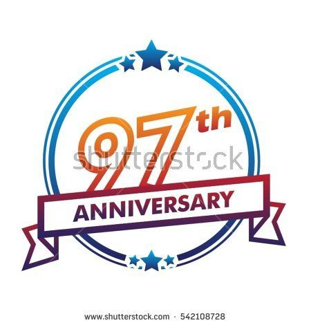 blue circle and star with purple ribbon 97th anniversary design vector