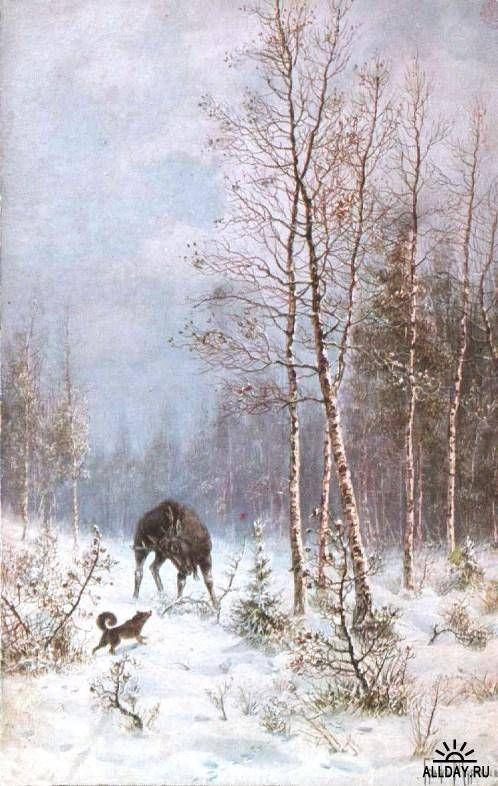 Охотничья живопись графа Муравьёва  Охота на оленя: