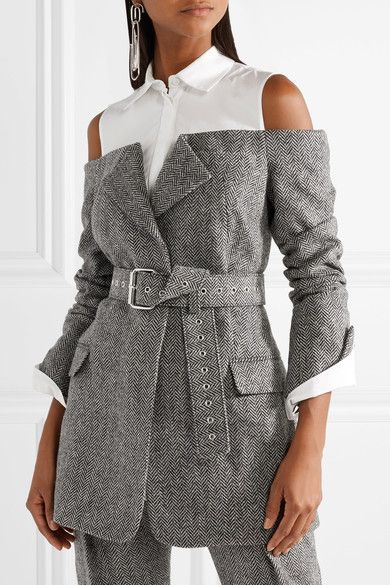 Monse | Cutout herringbone wool and cotton-poplin blazer  | NET-A-PORTER.COM