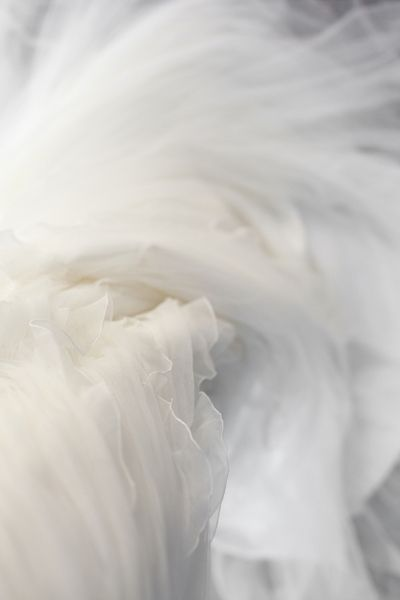 a sea of spiraling white tulle