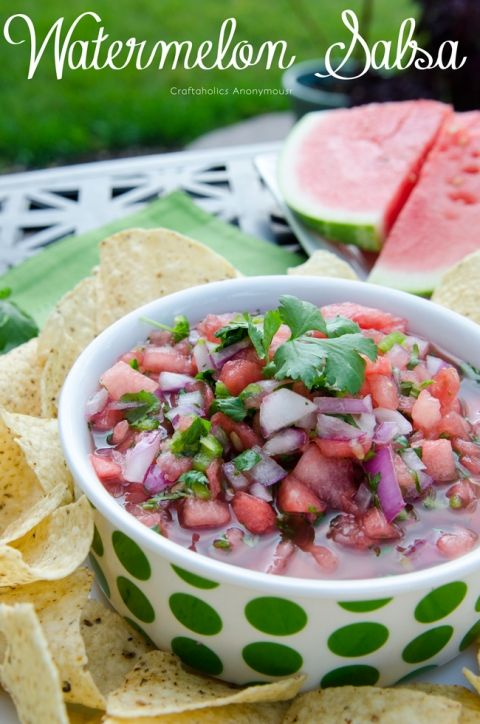 Watermelon salsa. Delicious spicy sweet summertime salsa. Great way to use up old watermelon!