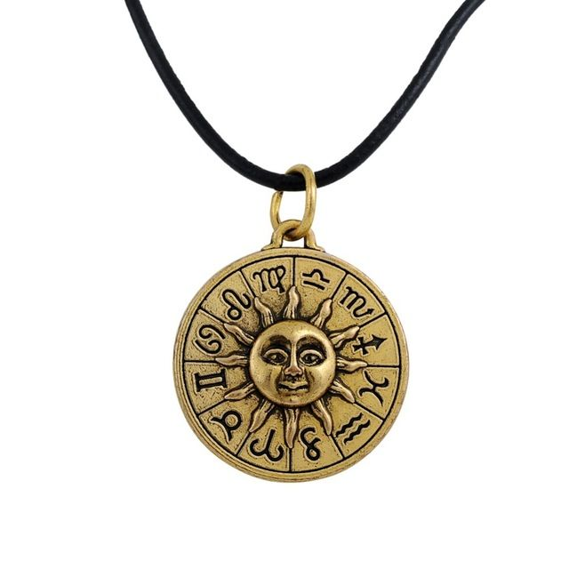 Bronze Tone Zodiac Sign Astrology Pendant Necklace Leather Chain Jewelry for Men