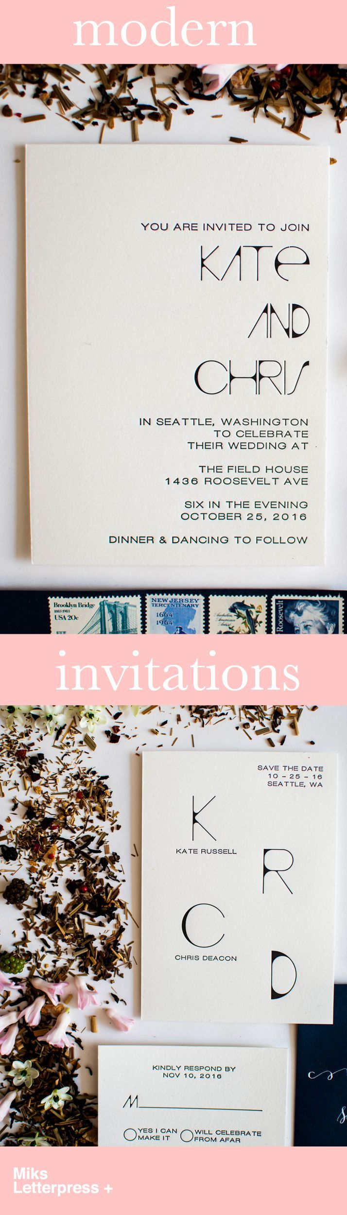 Looking for modern wedding invitations and save the date's for your special day? Take a look at the elegant, unique, simple and clean designs at Miks Letterpress + Options include letterpress, gold foil and water color invitations