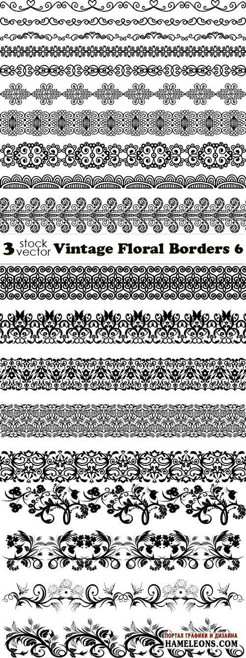 Винтажные флористические бордюры - коллекция в векторе   Vintage Floral Borders vector