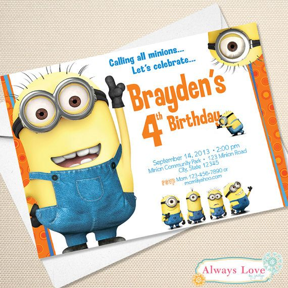 Hey, I found this really awesome Etsy listing at https://www.etsy.com/listing/160940631/printable-minion-birthday-invitation