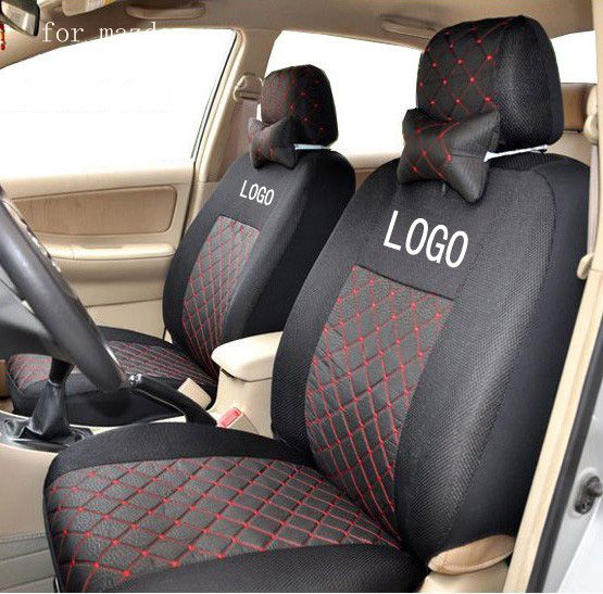 BABAAI front 2 seat covers for mazda 3 6 mazda cx-5 cotton mix silk grey black  embroidery logo car seat covers