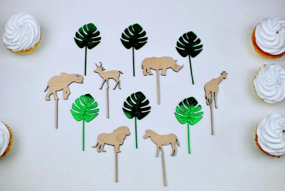 Wood Safari Birthday Baby Shower Animal Cupcake Toppers Wild Etsy Safari Birthday Safari Theme Party Jungle Party Decorations