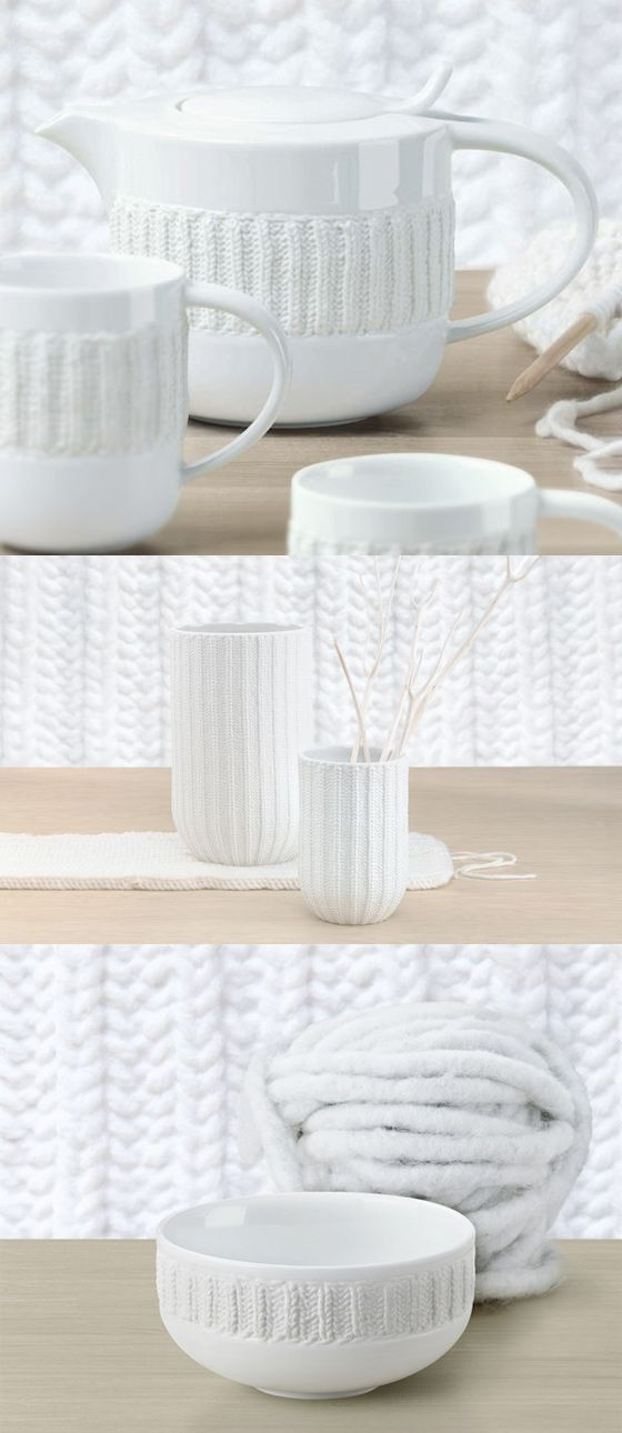 Laine Blanche porcelain tea set with a knitted design from Asa Selection #tableware #patterns