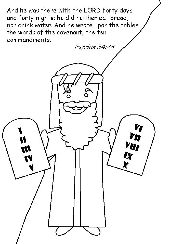 Moses And Tablets Of Stone Coloring Page