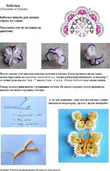 Crochet 3D butterflies free pattern (Slovakia)