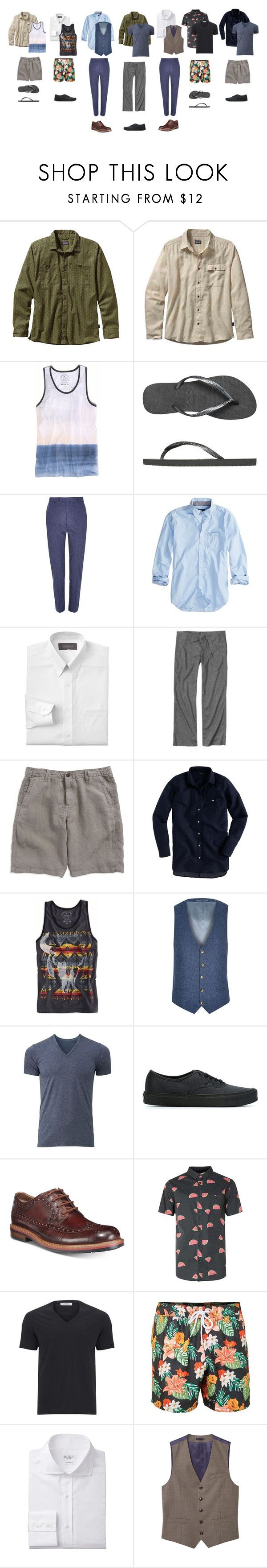 """""""Summertime"""" by rosyapple ❤ liked on Polyvore featuring Patagonia, American Eagle Outfitters, Havaianas, River Island, Croft & Barrow, prAna, Lucky Brand, J.Crew, Uniqlo and Vans"""
