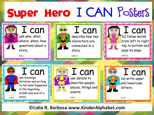 Super Hero I CAN Posters for Common Core Standards