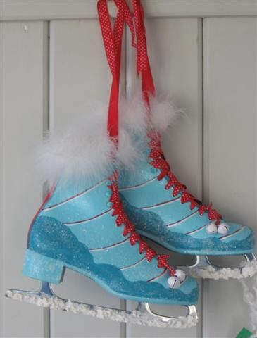 Elf Sugar Plum Mary's Ice Skates - Decorative Painted Ice Skates for Your Holiday Home. $75.00, via Etsy.