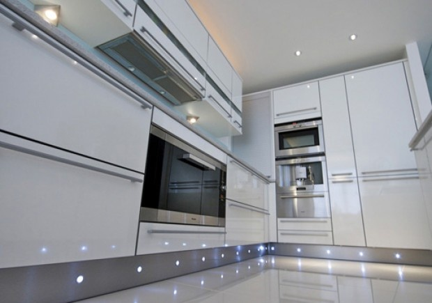 High Gloss White With Stainless Steel Plinth With Led Lights White Gloss Kitchen White
