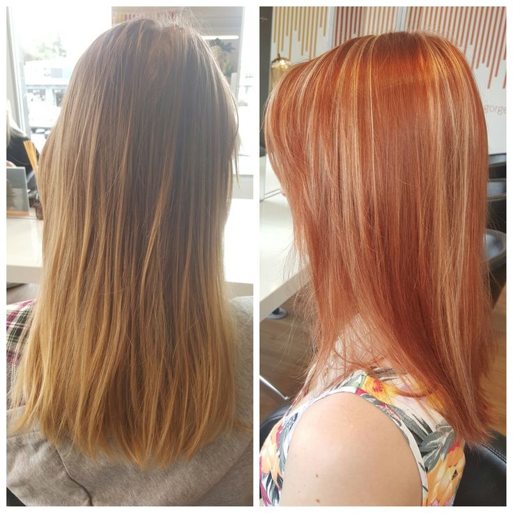 Lovely before and after picture of our beautiful client Sophie. She wanted a bit of a change from her natural hair colour. Nothing like a bright copper just before summer. Done by Roxanne. Hue Hair Salon, Albany, Auckland