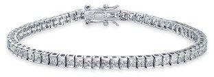 Bling Jewelry Channel Set Cz Classic Sterling Silver Tennis Bracelet 7.5in.