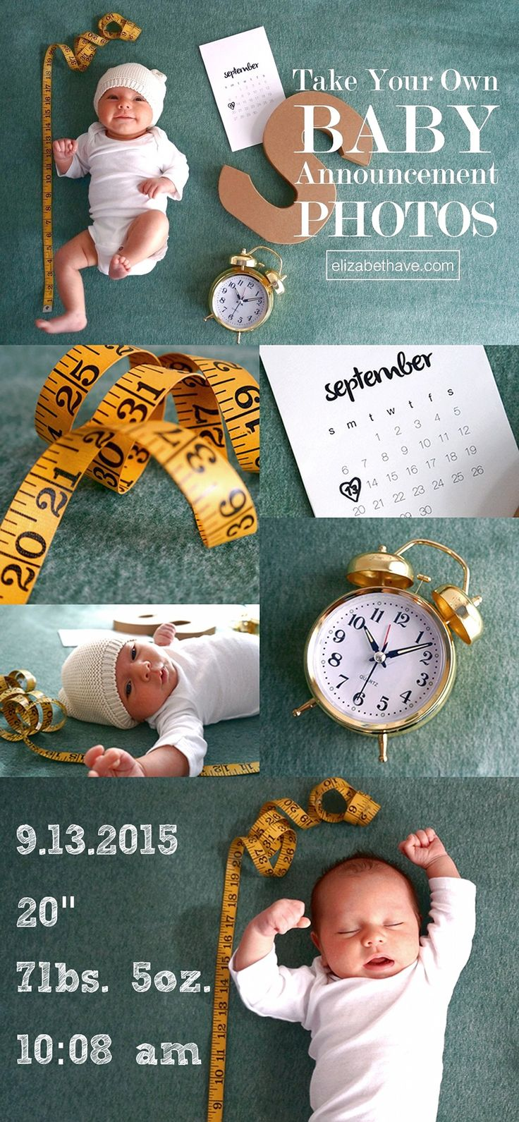 How to Take Your Own Baby Announcement Photos | After taking my own maternity photos, I decided to DIY my newborn announcements too instead of hiring a photographer. Here are the results and a tutorial on how to do it yourself! Plus a round up of other cute infant photography and birth announcements in case you need some inspiration to get your juices flowing. | www.elizabethave.com
