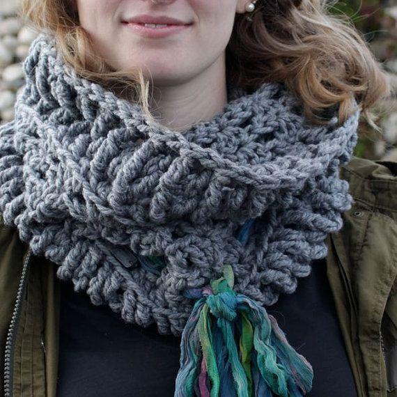Bulky Crocheted Cowl Hooded Scarf by LovinEachStitchHookd on Etsy #bulkycowl #handmadescarf #fairtrade