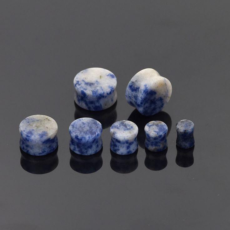 Ear Expanders Piercing 1 Pair Organic Blue Amazonite Stone Saddle Flared Flesh Tunnels Ear Plugs Gauges Expander Ear piercings