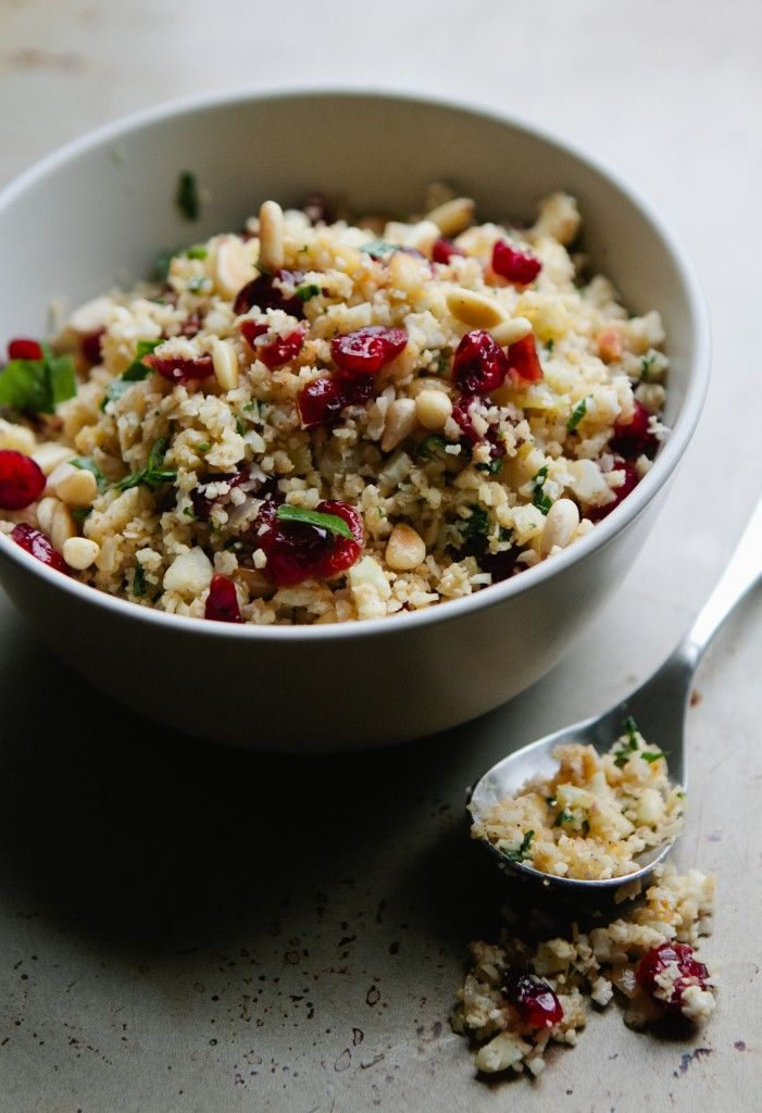 "Cauliflower ""Couscous"" from A Thought For Food #glutenfree #vegetarian #recipe - need to change the spices a little and remove the pine nuts"
