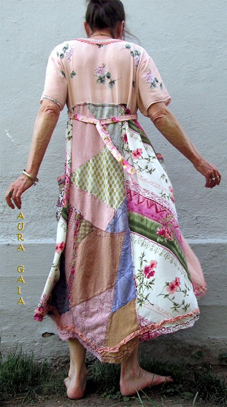 AuraGaia ~Rosalie~ Poorgirl's Boho Upcycled Patchy Garden Dress fits S-XL