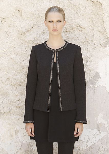 Chanel jacket with round cut throat and braid perfect to combine with your stylish skirt or trousers